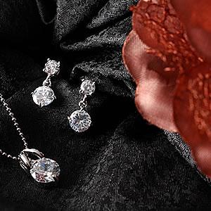 1.5カラット大粒Czダイヤモンドジュエリーセット|プレゼント|ギフト|Diamond pierce necklace【宅配便】