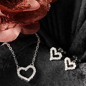 Czダイヤモンドジュエリーオープンハートパヴェセット|プレゼント|ギフト|Diamond pierce necklace【宅配便】