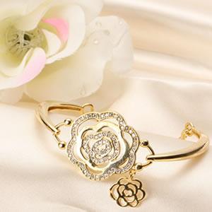 ゴールドコーティングczダイヤモンドジュエリーカメリアブレスレット|プレゼント|ギフト|Diamond【宅配便】