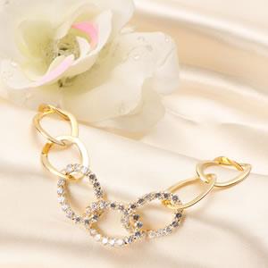 ゴールドコーティングczダイヤモンドジュエリーエレガントリングブレスレット|プレゼント|ギフト|Diamond【宅配便】