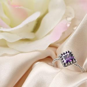 Czダイヤモンドジュエリー大粒 ドレッシーリング パープル|紫|指輪|プレゼント|ギフト|Diamond ring|アクセサリー|【宅配便】8-9