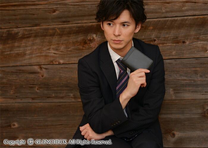 日本製撥水ブライドルレザー二つ折り財布