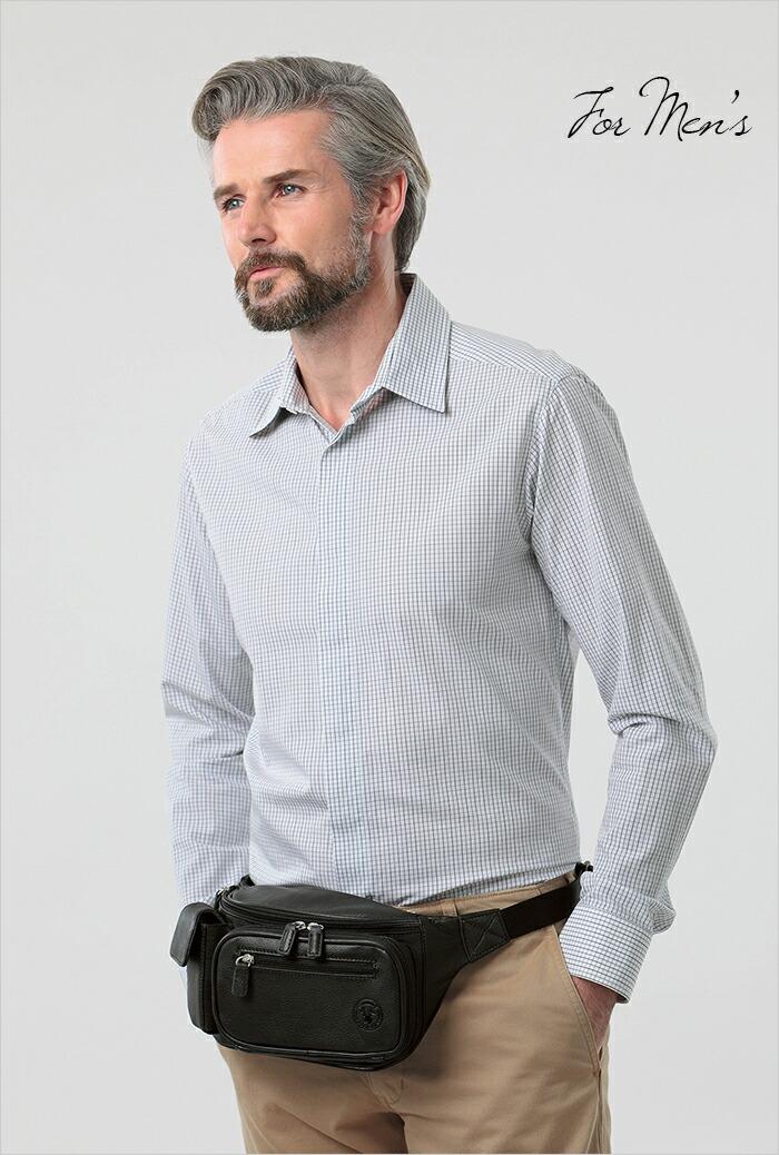 ディアスキンウエストバッグ メンズモデル画像