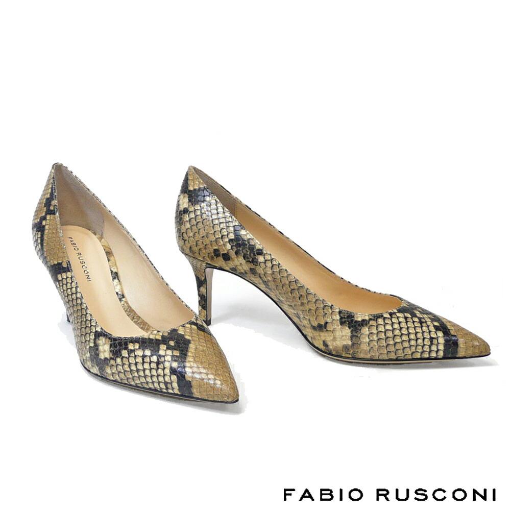 【FABIO RUSCONI/ファビオ ルスコーニ】パイソン型押しパンプス