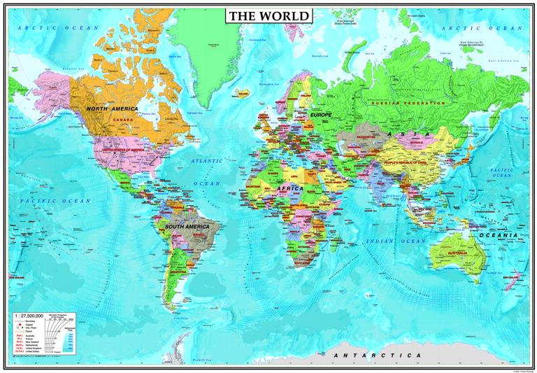 楽天市場】表面PP加工中判 THE WORLDヨーロッパ中心タイプ (英語版世界地図)5103:グローバルプランニング
