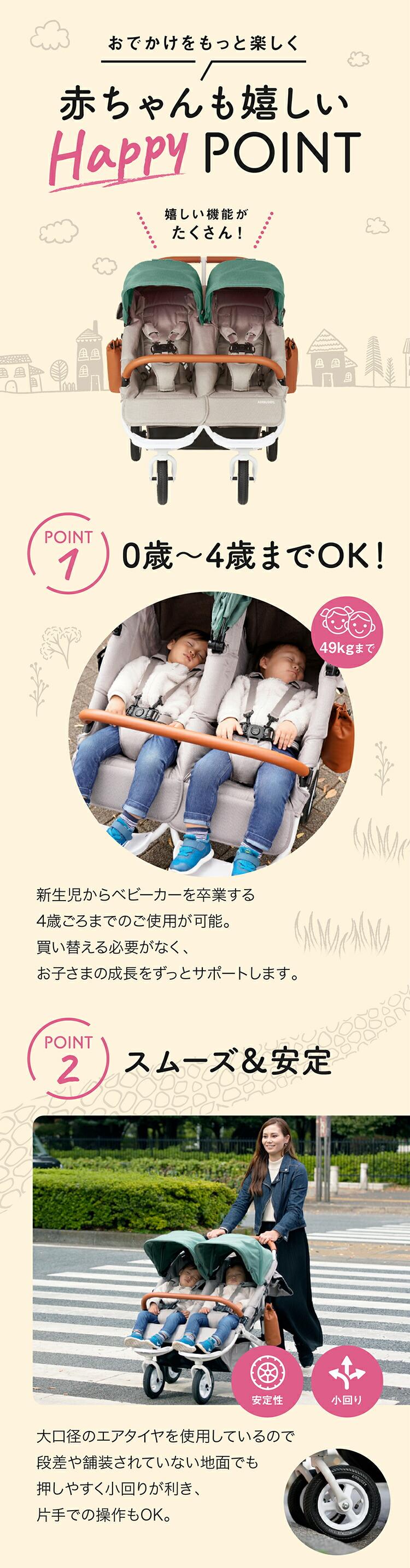 新生児から使える双子用ベビーカーエアバギー「フロムバース ダブル」の商品ページ4