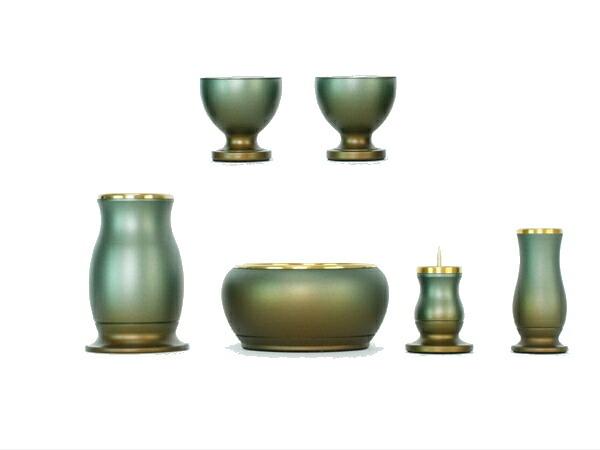 アルミ モダン仏具セット 緑茶マット 花立て 火立て 香炉 仏器 仏飯器 仏茶器 セット  3.0寸