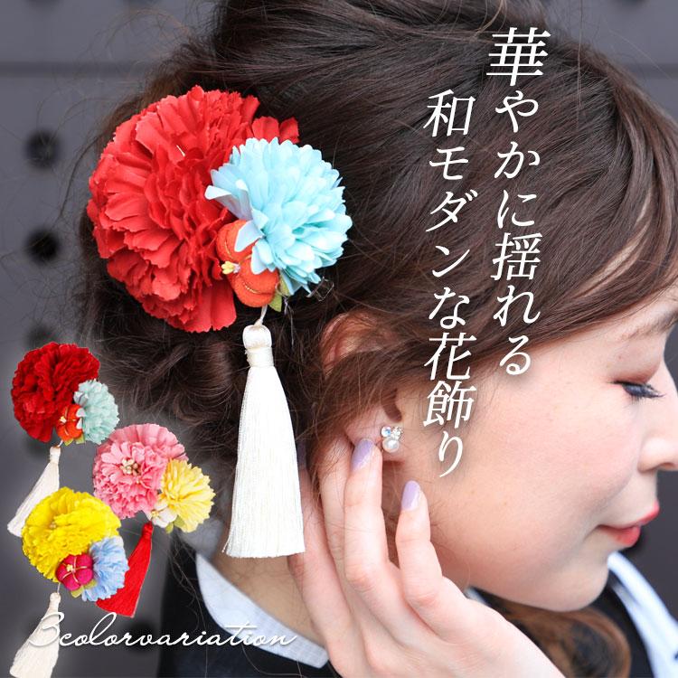 花&タッセル髪飾り
