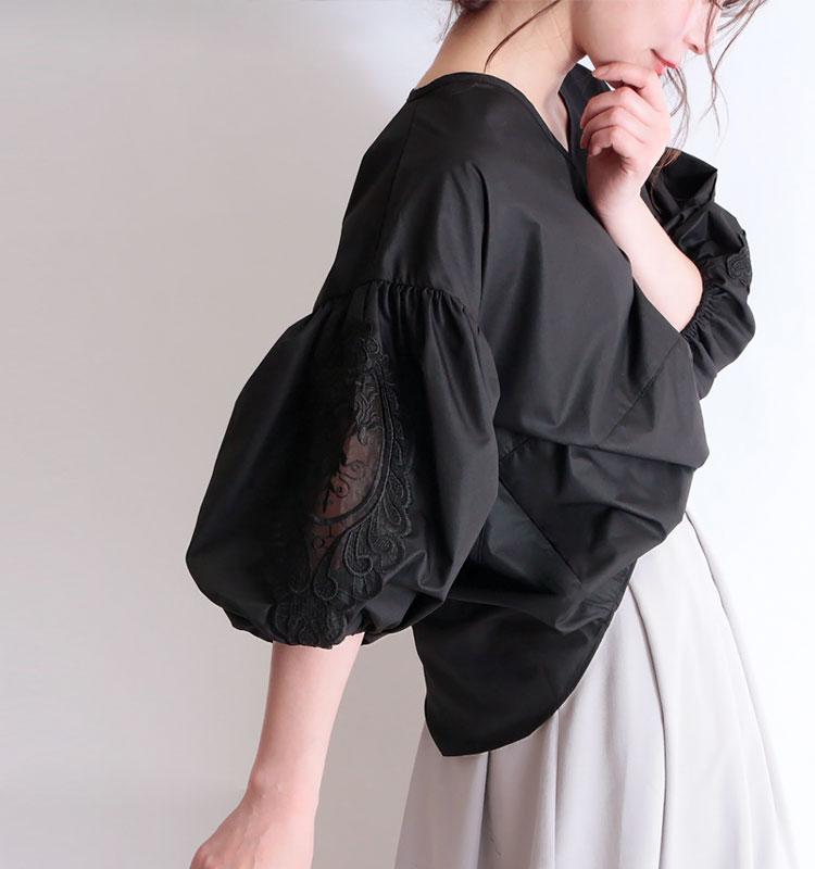 刺繍レースぽわん袖ブラウス