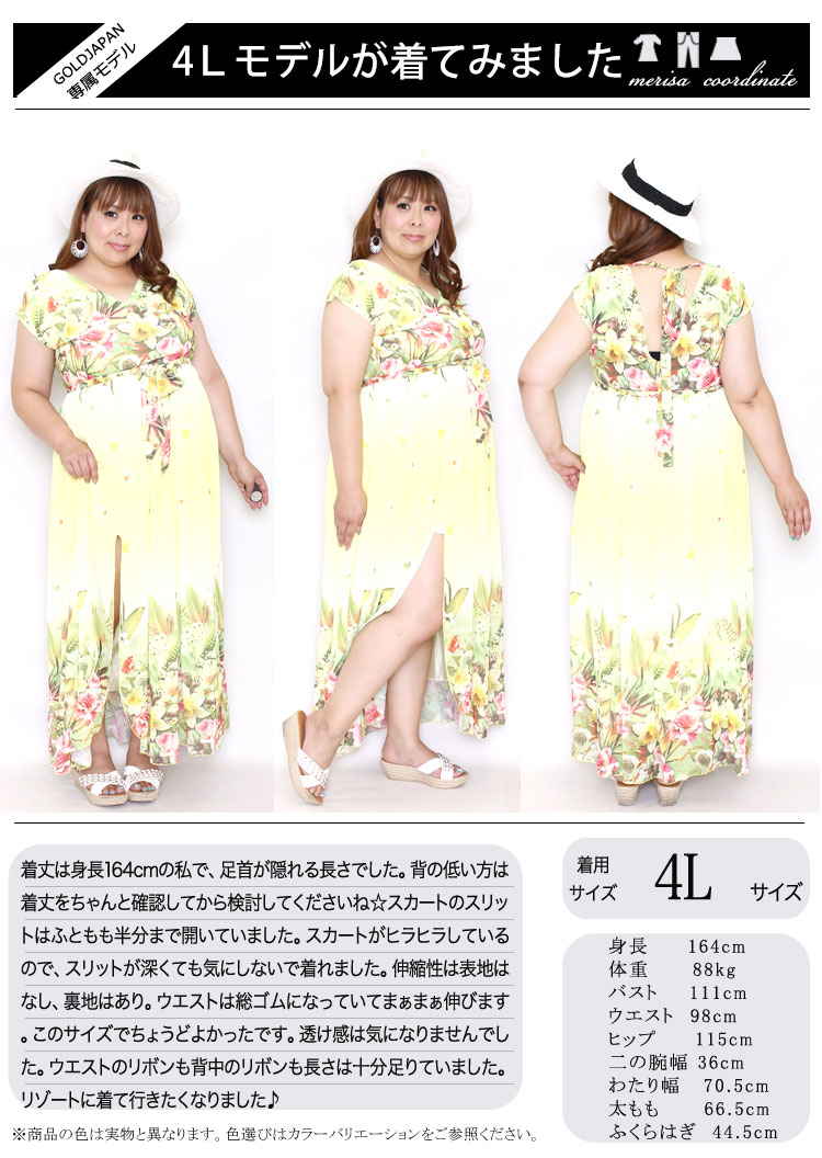 花柄マキシ丈シフォンワンピース