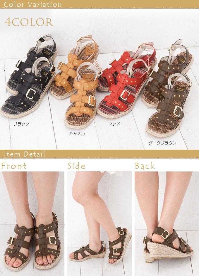 靴 レディース靴 サンダル カジュアル ブラック 黒 赤 ブラウン 大きい靴 大 L Lサイズ LL LL