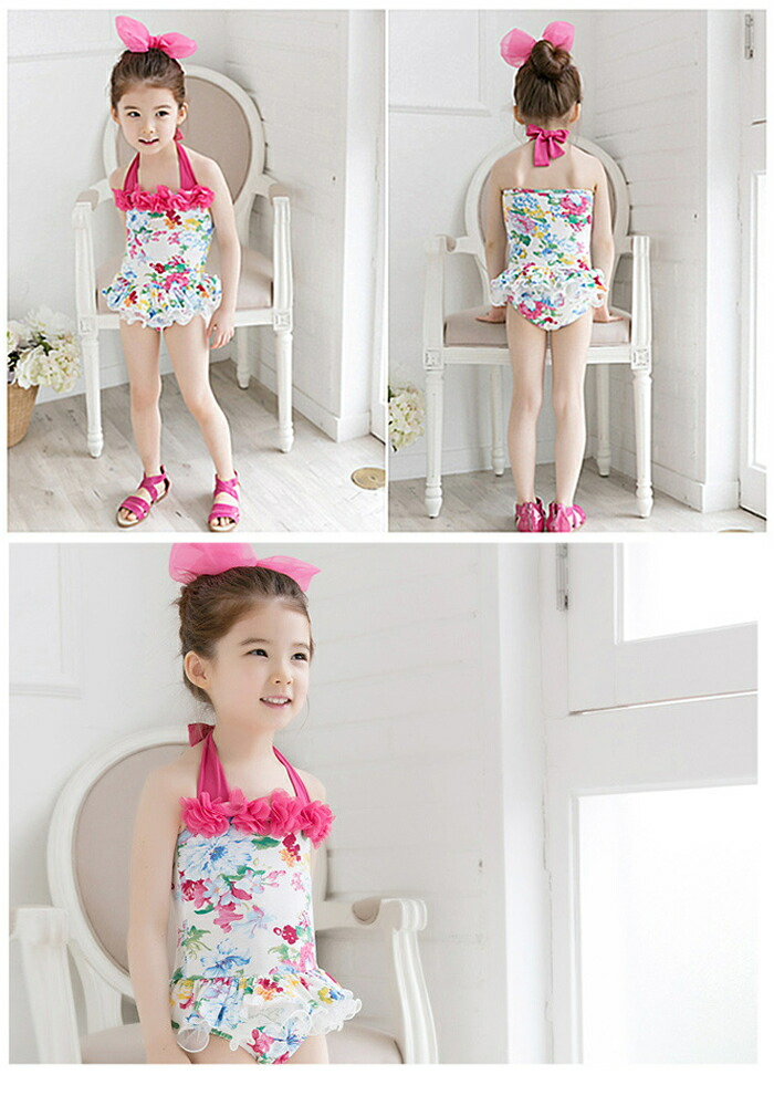 Dress Shop Goldbunny Korea Swimsuit Girl Rose Pattern