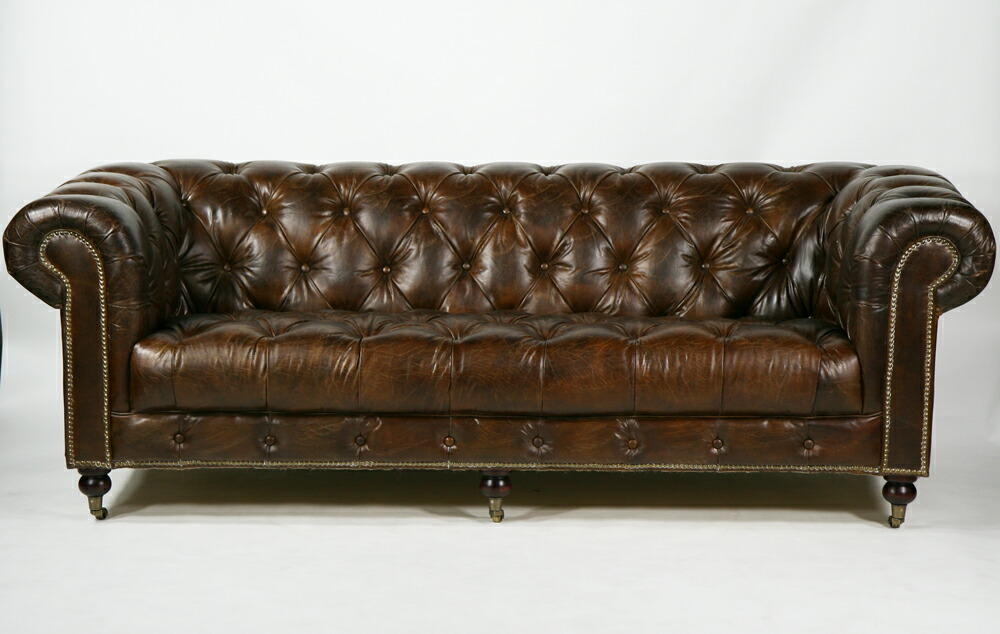 Free Shipping New Total 3 P Triple Sofa Chesterfield Leather Vintage Antique