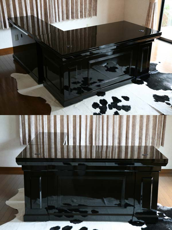 Free Shipping On New Ritzy 2br Presidential Desk Executive Piano Painted Black L Shaped Flat 81652 Bk