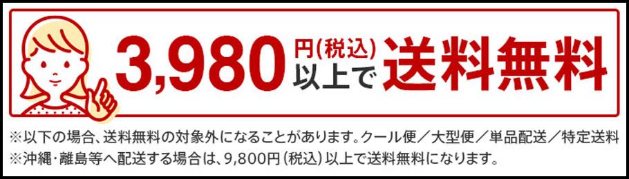 3980円以上お買い上げで送料無料(一部対象外商品、対象外地域あり)