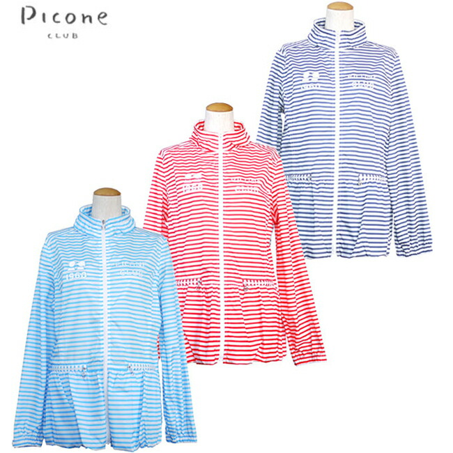 【あす楽】Picone CLUB【ピッコーネクラブ】レディースゴルフウェア ボーダー柄ブルゾン C454220