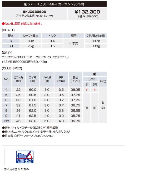 [ 予約販売 ] ミズノ 2013年モデル ストレートネック 軟鉄鍛造 キャビティアイアン MP-54 ツアースピリットMP-i カーボンシャフト 「5-PW」の6本セット