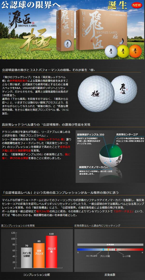 ワークスゴルフ ゴルフボール 飛匠 BRONZE LABEL ブロンズラベル 極 1ダース(12球)[WORKS GOLF]
