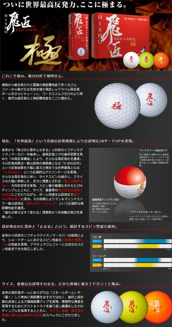 ワークスゴルフ ゴルフボール 飛匠 RED LABEL レッドラベル 極 1ダース(12球)[WORKS GOLF]