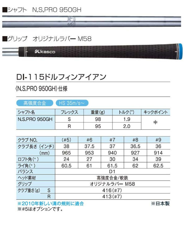 【送料無料】キャスコ メンズ ドルフィン DI-115 アイアンセット4本(6I-9I) N.S.PRO950GHスチールシャフト[Kasco DOLPHIN]