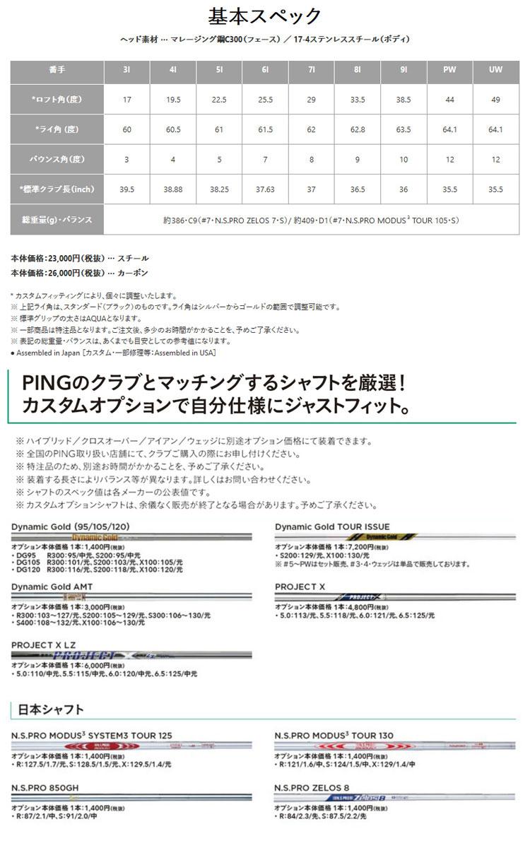 特注 ピンゴルフ i500アイアン 5本セット(6I-PW)  ツアーAD BBカラー カーボンシャフト(PING)
