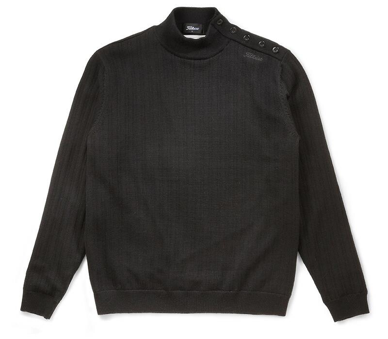 タイトリスト ウール 防風ハイネックニットセーター TWMK1662 BK/ブラック