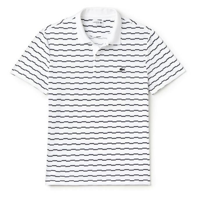 ラコステ メンズ 半袖ポロシャツ イレギュラーボーダー柄 PH2060 522/ホワイト