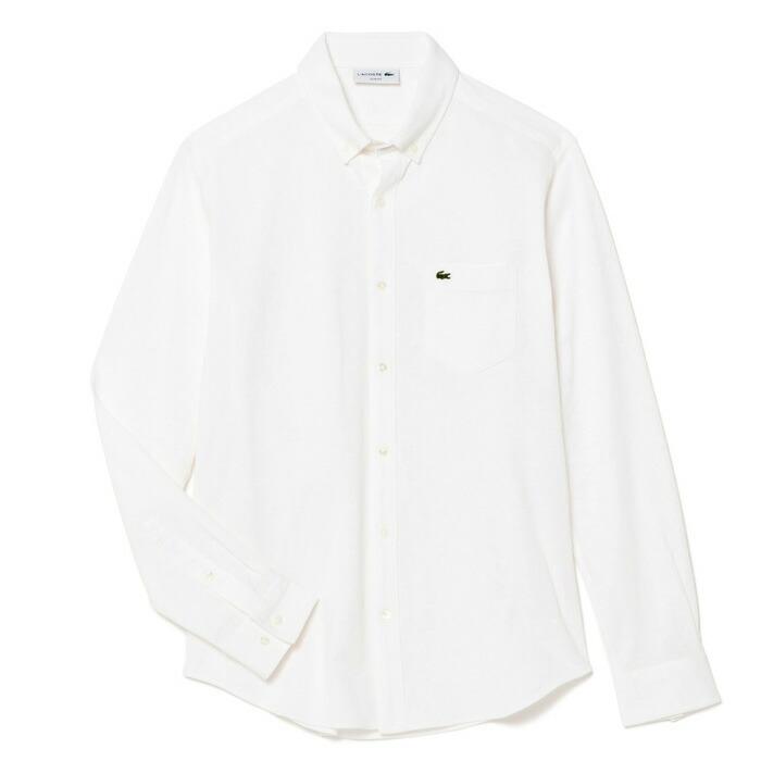 ラコステ メンズ 長袖オックスフォードボタンダウンシャツ PH230E 001/ホワイト