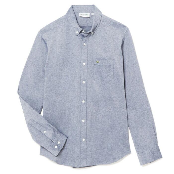 ラコステ メンズ 長袖オックスフォードボタンダウンシャツ PH230E 2SZ/ブルー