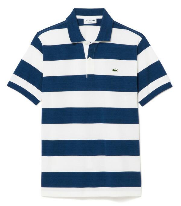 ラコステ メンズ 半袖ポロシャツ ワイドボーダー柄 PH630E HXJ/ブルー