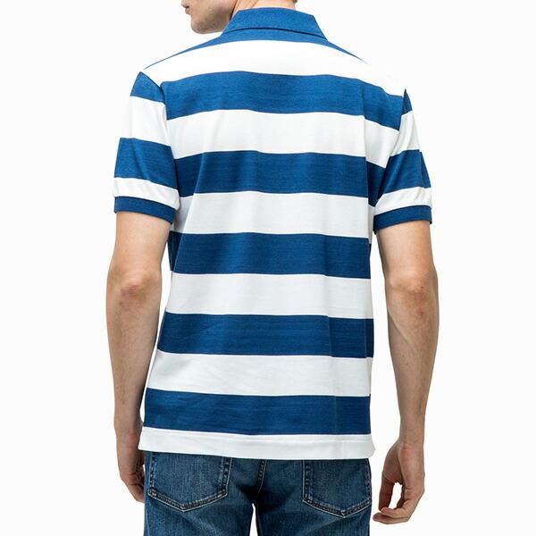 ラコステ メンズ 半袖ポロシャツ ワイドボーダー柄 PH630E