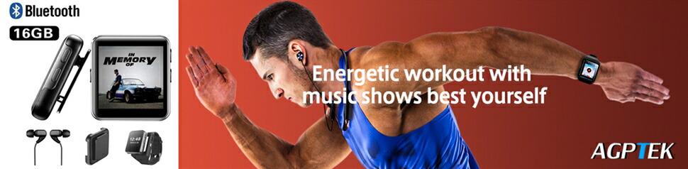 MP3プレーヤー スマートウォッチ Bluetooth搭載 MP3腕時計 フルタッチスクリーン ストップウォッチ smart watch 取り外し可能クリップと腕バンド付き 音楽再生/録音/FMラジオ/写真閲覧/ビデオ/目覚まし時計/電子ブック スポーツやアウトドア用に最適 日本語対応 AGPTEK