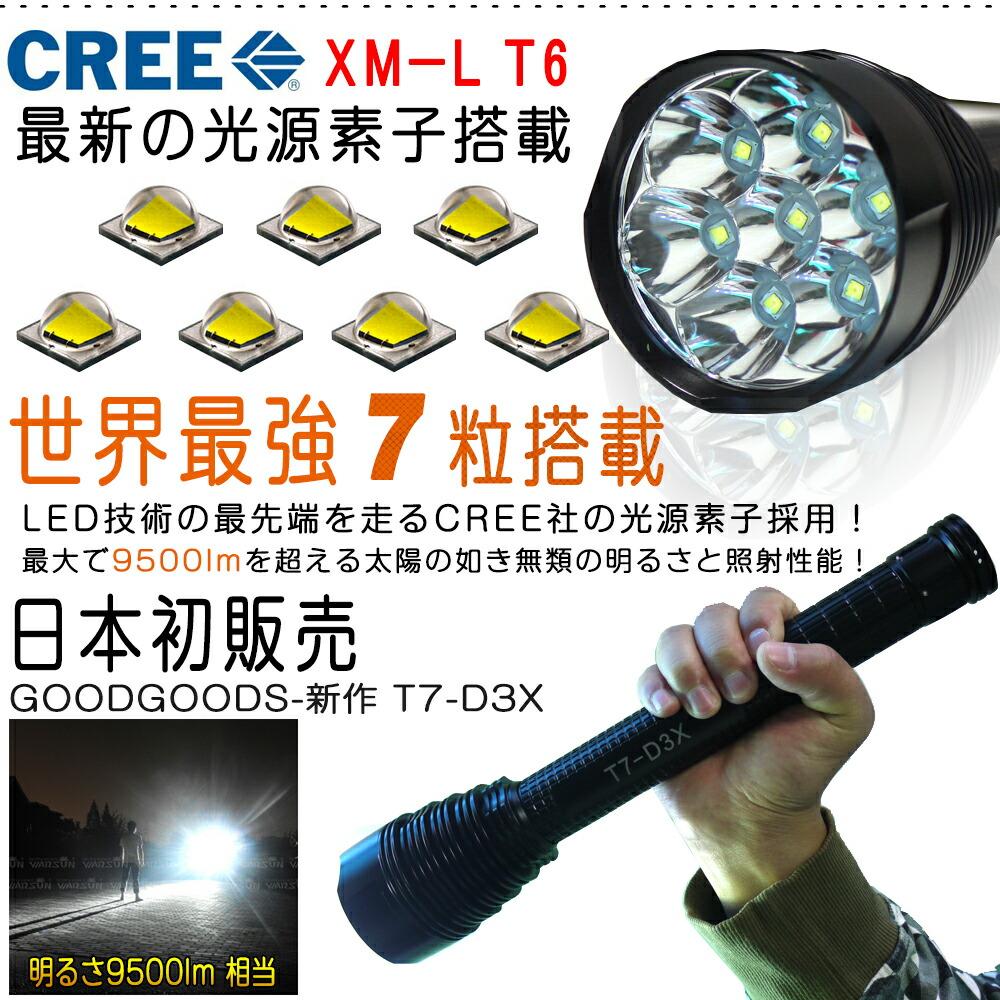 最強 led懐中電灯 CREE社製XML,T6*7 9500lm 5モード切替