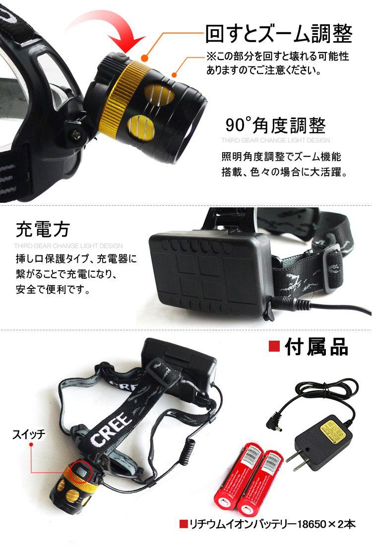 LEDヘッドライト 充電式 強力 1800ルーメン 角度調整可 3モード