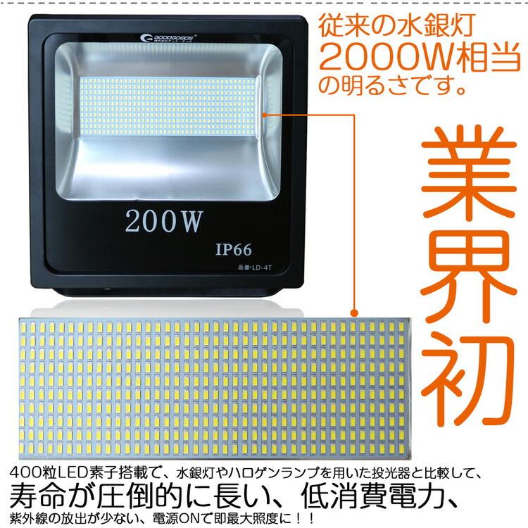 LED 投光器 200w 2000W相当 LED 投光器 スタンド 投光器 led 屋外 ワークライト 看板灯 駐車場灯 集魚灯 作業灯 野球練習 アウトドア