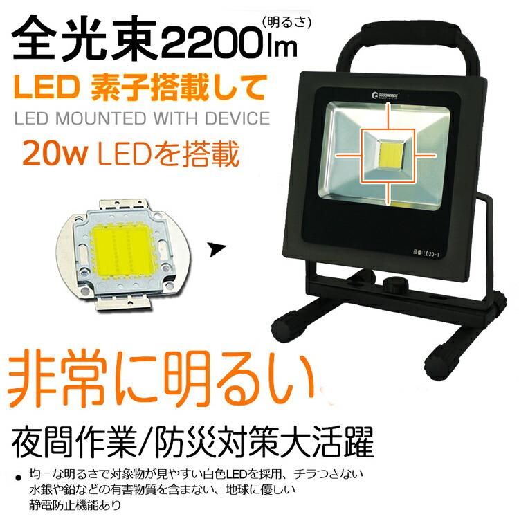 LED 投光器 20w 200W相当 LED 投光器 スタンド 投光器 led 屋外照明 広角 防水プラグ付き AC85V〜265V対応 屋外 照明 看板灯 駐車場灯 集魚灯 作業灯 野球練習 看板照明 アウトドア