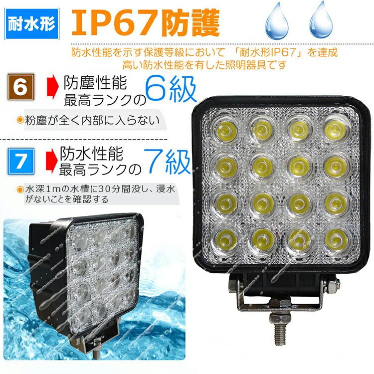 LED作業灯 ワークライト 直流12v-24V LED 作業灯 中角 高輝度 防水仕様 昼光色 4000LM 16連