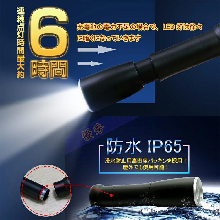 LED 懐中電灯 超強力 1800lm  ズーム機能付き充電式 ライト ミニライト