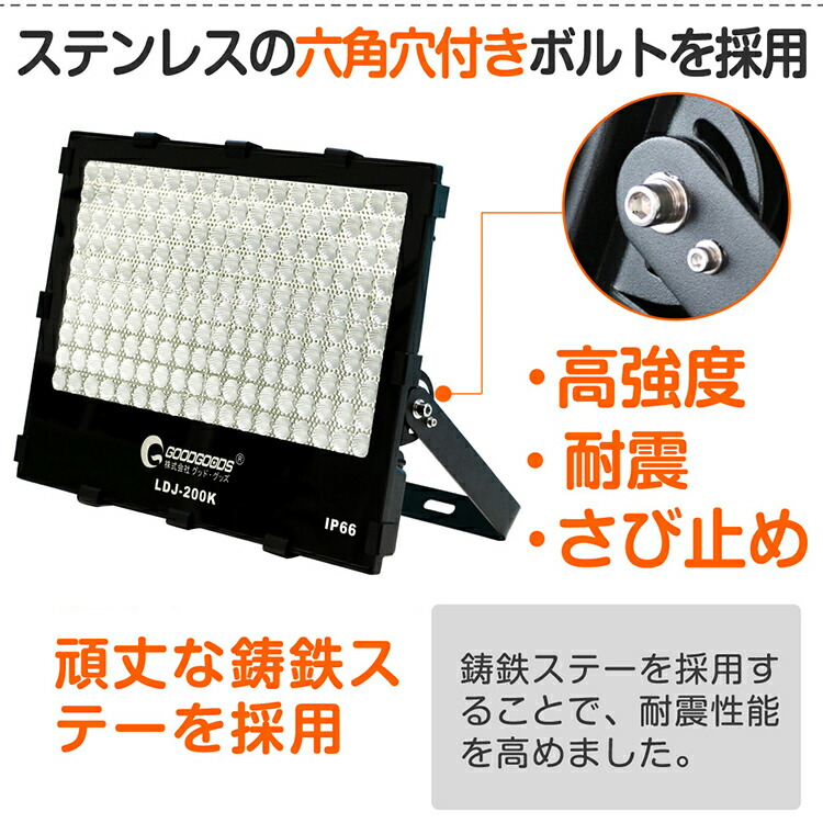 投光器 led 200W 2000W相当 28080lm 作業灯 看板灯 駐車場灯