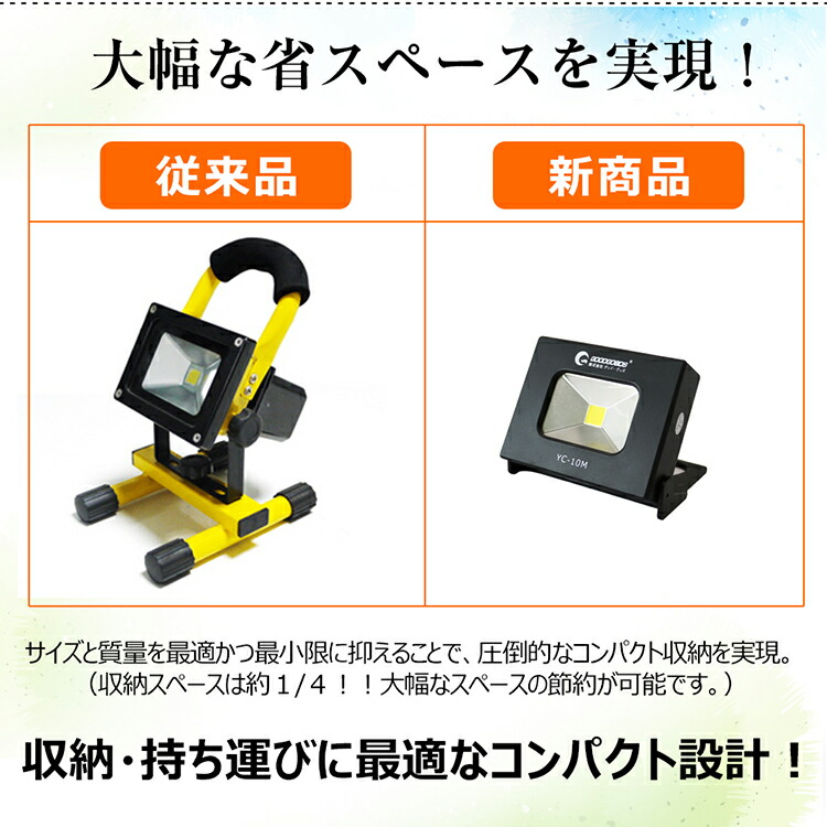 投光器 スタント ポータブル 強力マグネット付き スマホに充電対応 3モード点灯