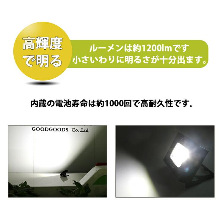 コンパクト led投光器 小型 持ち運びに便利 充電式ライト