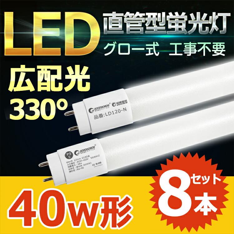 GOODGOODS LED蛍光灯 40W形 120cm G13口金 昼白色 ベースライト グロー式 直管 高耐久 ナノ技術 軽量 直管ランプ