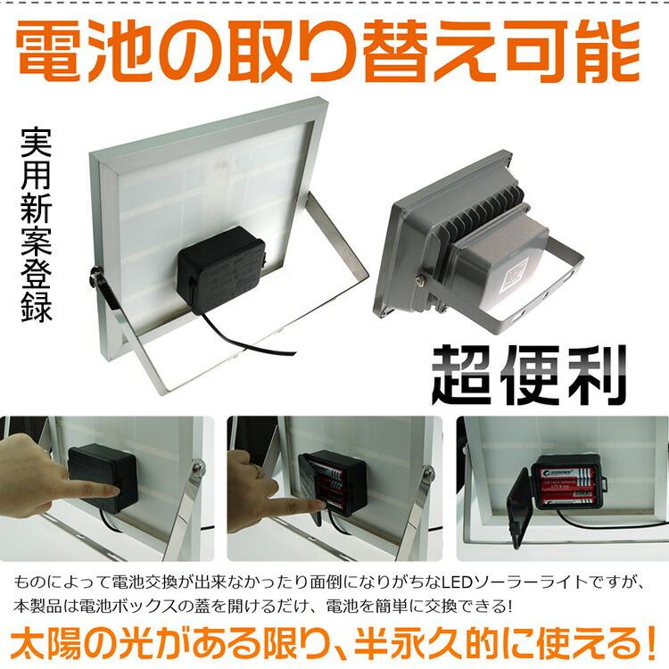 LED ソーラーライト20W COBタイプ 充電式