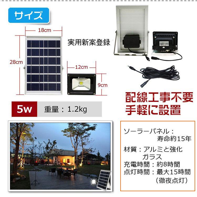 COBタイプ 投光器 屋外 照明 5w ソーラー ライト LED ライト 充電式 電気代0 ソーラー 昼白色