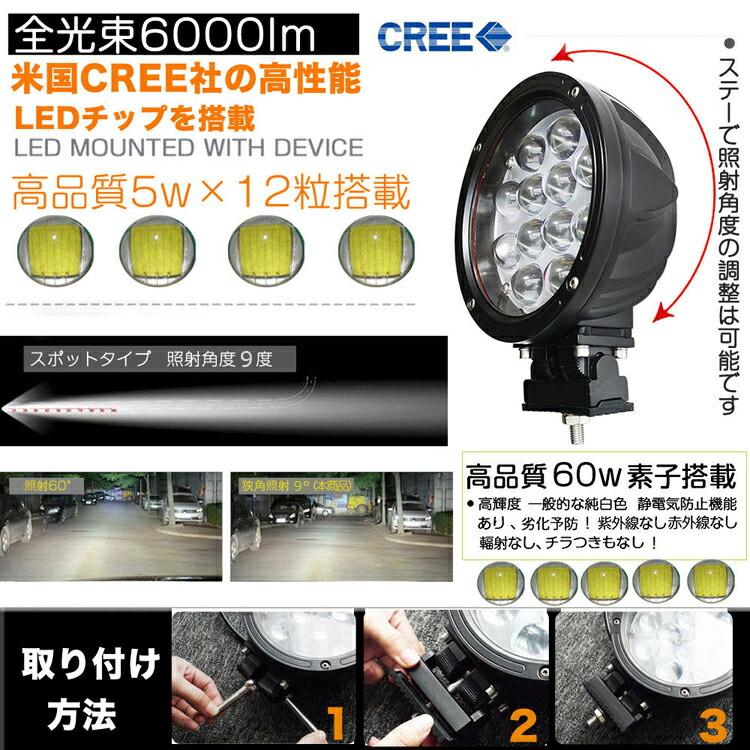 LED 作業灯 12V/24V 集光型 狭角 丸型 60w/12連