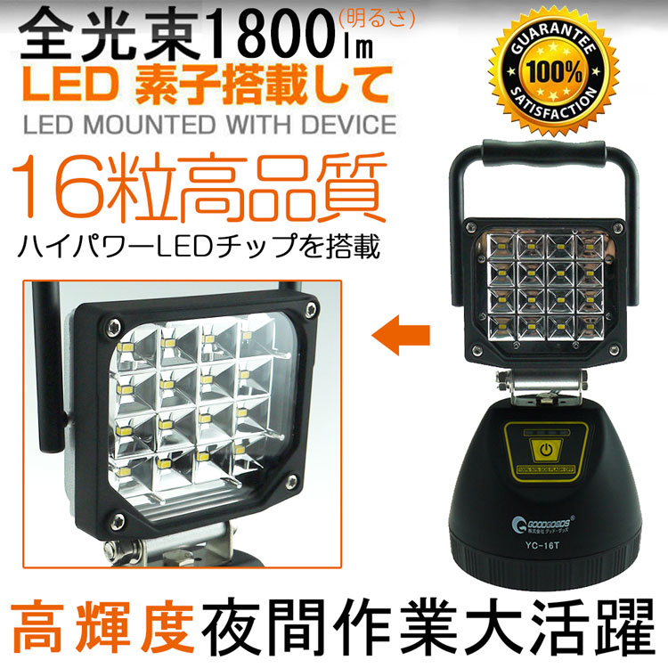 投光器 led 屋外 16W 1800ルーメン 作業灯