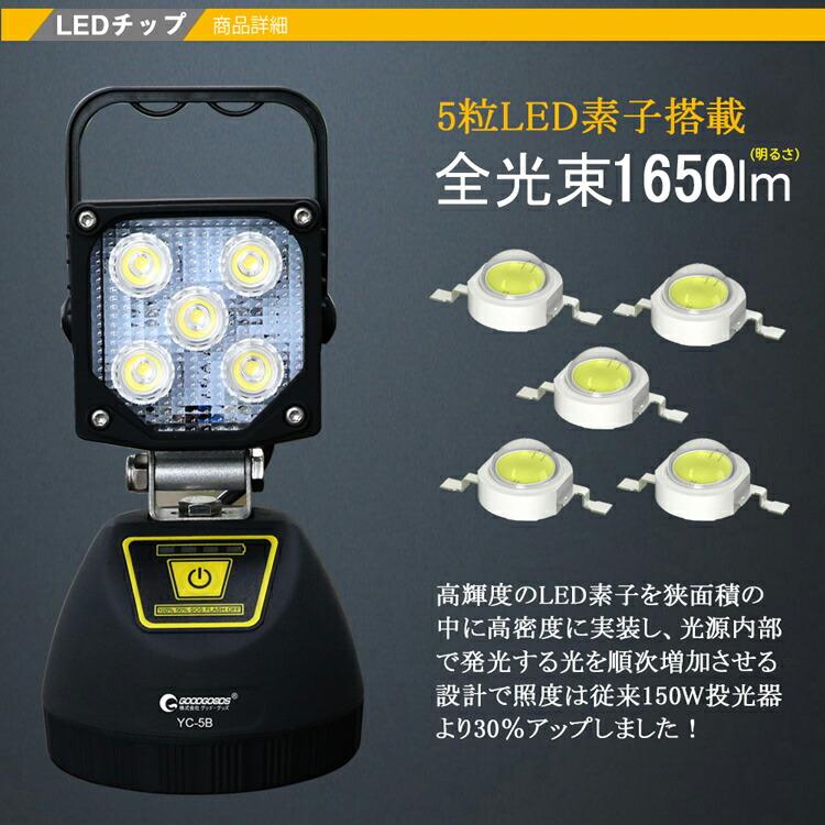 投光器 led 充電式 コードレス モバイルバッテリー スマホ充電可
