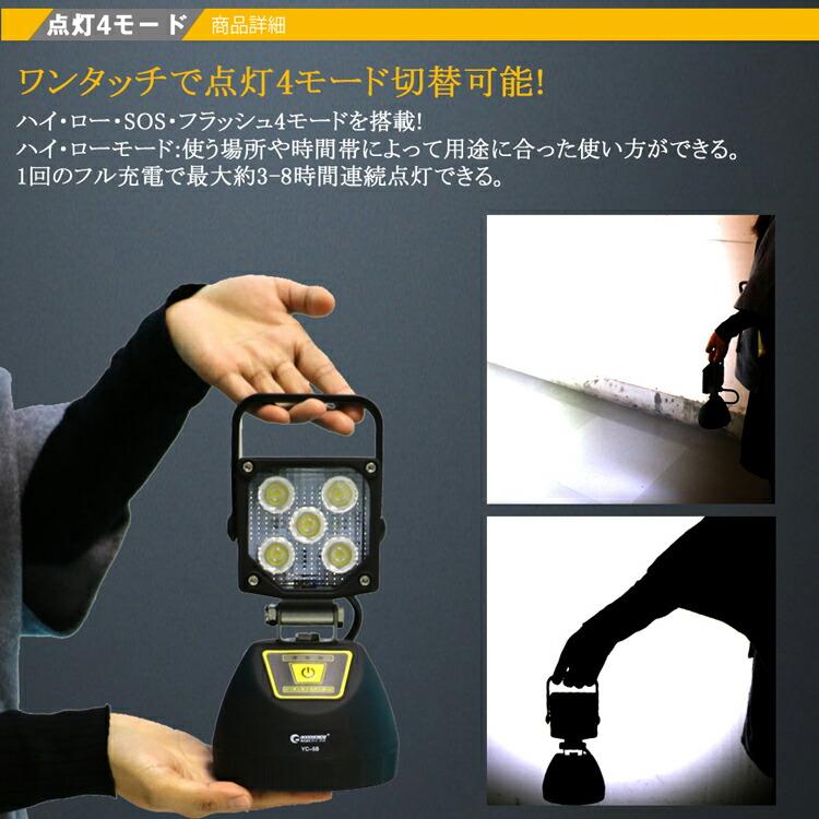 作業灯 投光器 led 充電式 マグネット付き スマホ充電可