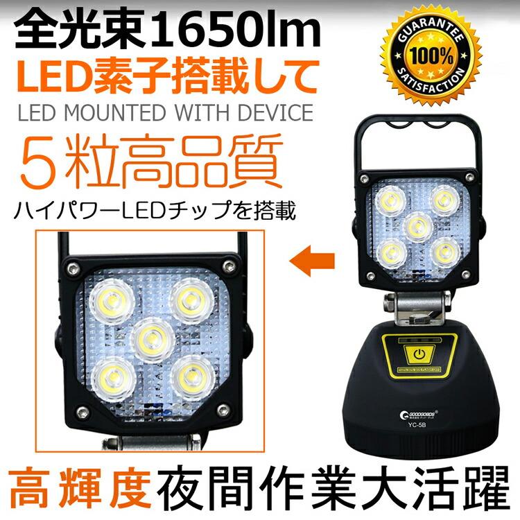 作業灯 投光器 led 充電式 15W 強力マグネット付き モバイルバッテリー スマホ充電可
