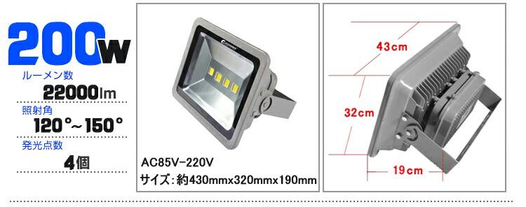 LED投光器 200W AC 作業灯